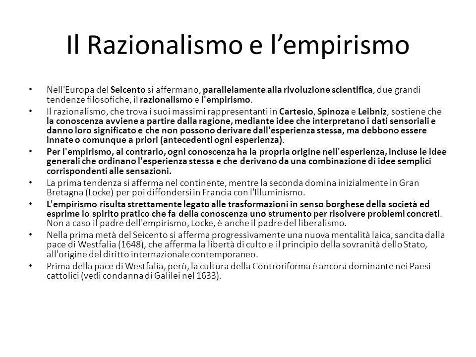 Il Razionalismo e lempirismo Nell'Europa del Seicento si affermano, parallelamente alla rivoluzione scientifica, due grandi tendenze filosofiche, il r