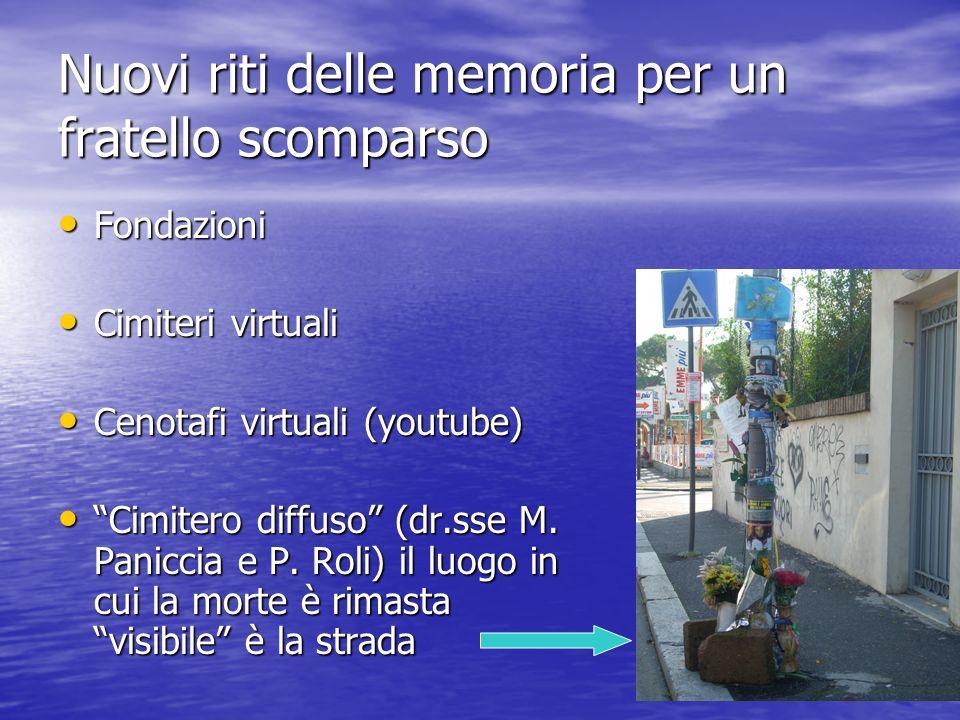 Nuovi riti delle memoria per un fratello scomparso Fondazioni Fondazioni Cimiteri virtuali Cimiteri virtuali Cenotafi virtuali (youtube) Cenotafi virt