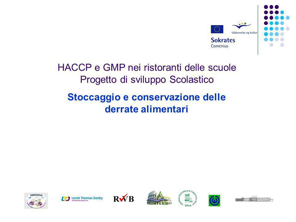 HACCP e GMP nei ristoranti delle scuole Progetto di sviluppo Scolastico Stoccaggio e conservazione delle derrate alimentari
