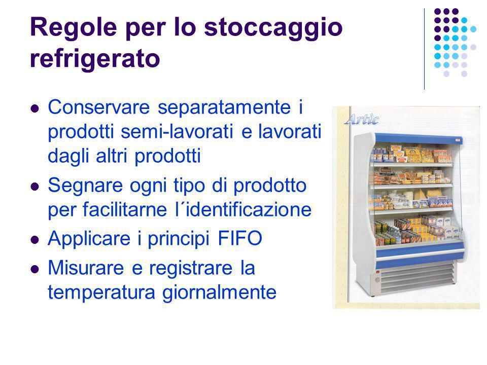 Regole per lo stoccaggio refrigerato Conservare separatamente i prodotti semi-lavorati e lavorati dagli altri prodotti Segnare ogni tipo di prodotto p