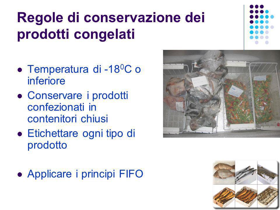 Regole di conservazione dei prodotti congelati Temperatura di -18 0 C o inferiore Conservare i prodotti confezionati in contenitori chiusi Etichettare