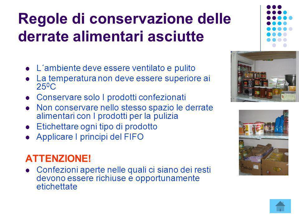 Regole di conservazione delle derrate alimentari asciutte L´ambiente deve essere ventilato e pulito La temperatura non deve essere superiore ai 25 0 C