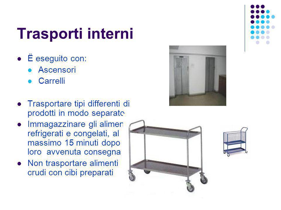 Trasporti interni Ë eseguito con: Ascensori Carrelli Trasportare tipi differenti di prodotti in modo separato Immagazzinare gli alimenti refrigerati e
