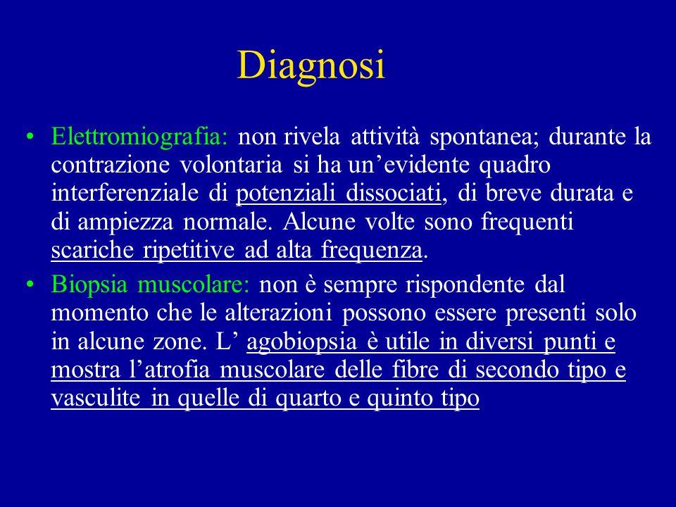 Diagnosi Elettromiografia: non rivela attività spontanea; durante la contrazione volontaria si ha unevidente quadro interferenziale di potenziali diss