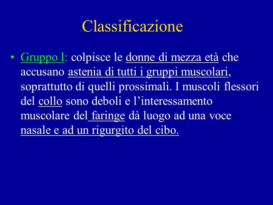 Classificazione Gruppo II: i muscoli sono interessati come nel gruppo I.