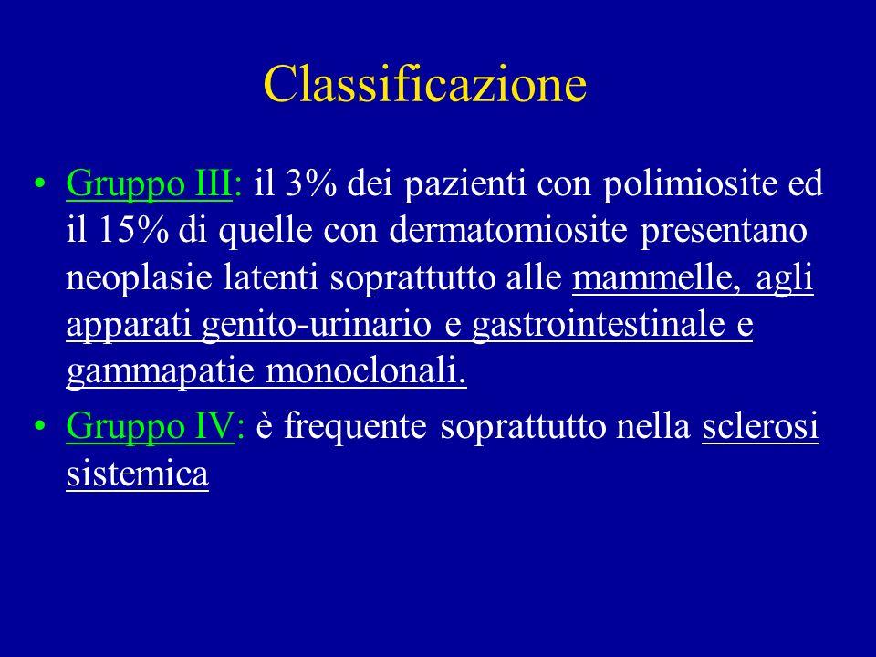Classificazione Gruppo III: il 3% dei pazienti con polimiosite ed il 15% di quelle con dermatomiosite presentano neoplasie latenti soprattutto alle ma