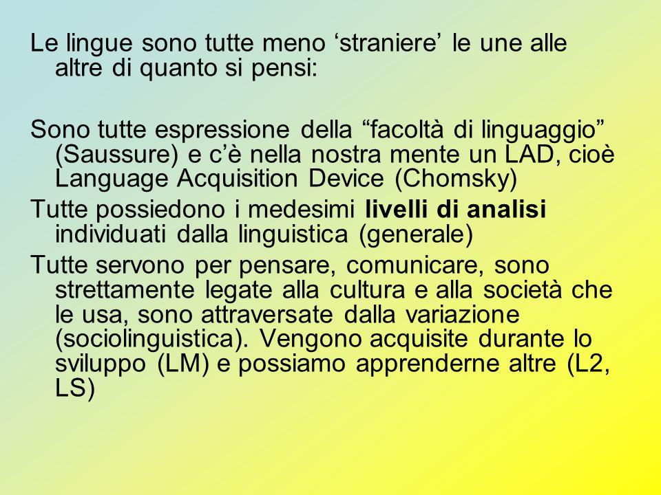 Le lingue sono tutte meno straniere le une alle altre di quanto si pensi: Sono tutte espressione della facoltà di linguaggio (Saussure) e cè nella nos