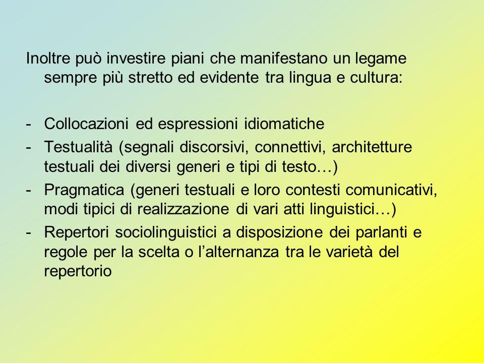 Inoltre può investire piani che manifestano un legame sempre più stretto ed evidente tra lingua e cultura: -Collocazioni ed espressioni idiomatiche -T