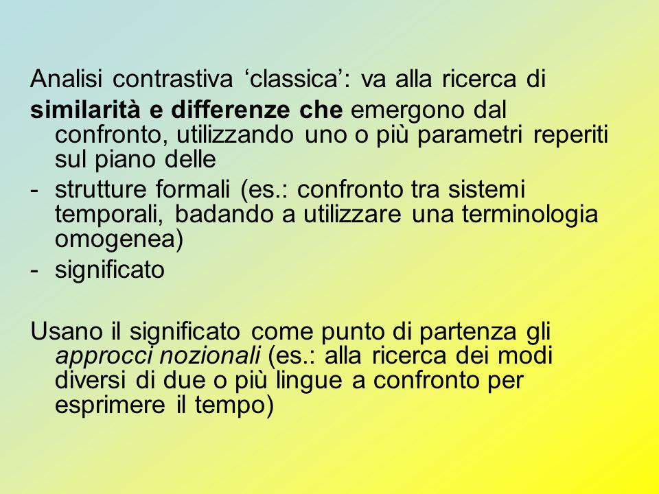 Analisi contrastiva classica: va alla ricerca di similarità e differenze che emergono dal confronto, utilizzando uno o più parametri reperiti sul pian