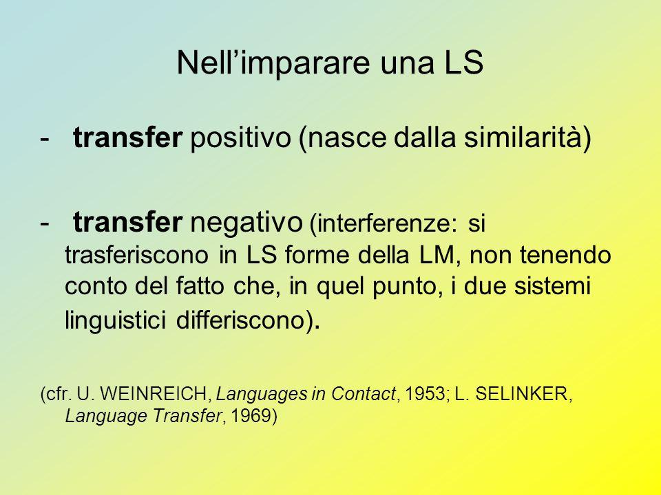 Nellimparare una LS - transfer positivo (nasce dalla similarità) - transfer negativo (interferenze: si trasferiscono in LS forme della LM, non tenendo