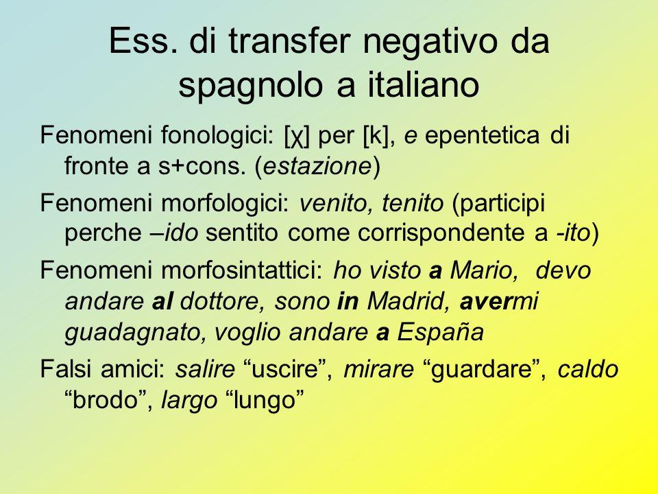 Ess. di transfer negativo da spagnolo a italiano Fenomeni fonologici: [χ] per [k], e epentetica di fronte a s+cons. (estazione) Fenomeni morfologici: