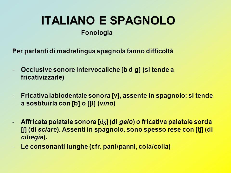 ITALIANO E SPAGNOLO Fonologia Per parlanti di madrelingua spagnola fanno difficoltà -Occlusive sonore intervocaliche [b d g] (si tende a fricativizzar