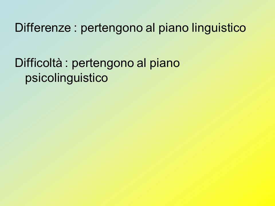 Differenze : pertengono al piano linguistico Difficoltà : pertengono al piano psicolinguistico