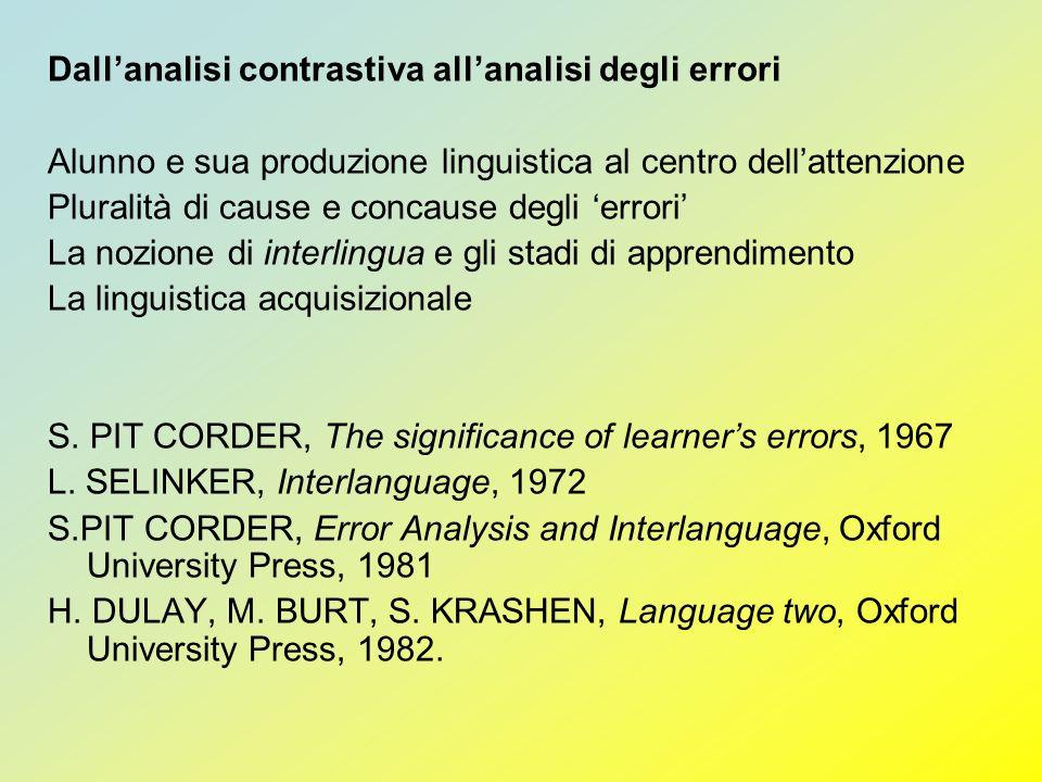 Dallanalisi contrastiva allanalisi degli errori Alunno e sua produzione linguistica al centro dellattenzione Pluralità di cause e concause degli error