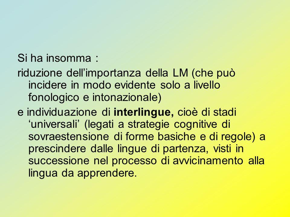 Si ha insomma : riduzione dellimportanza della LM (che può incidere in modo evidente solo a livello fonologico e intonazionale) e individuazione di in