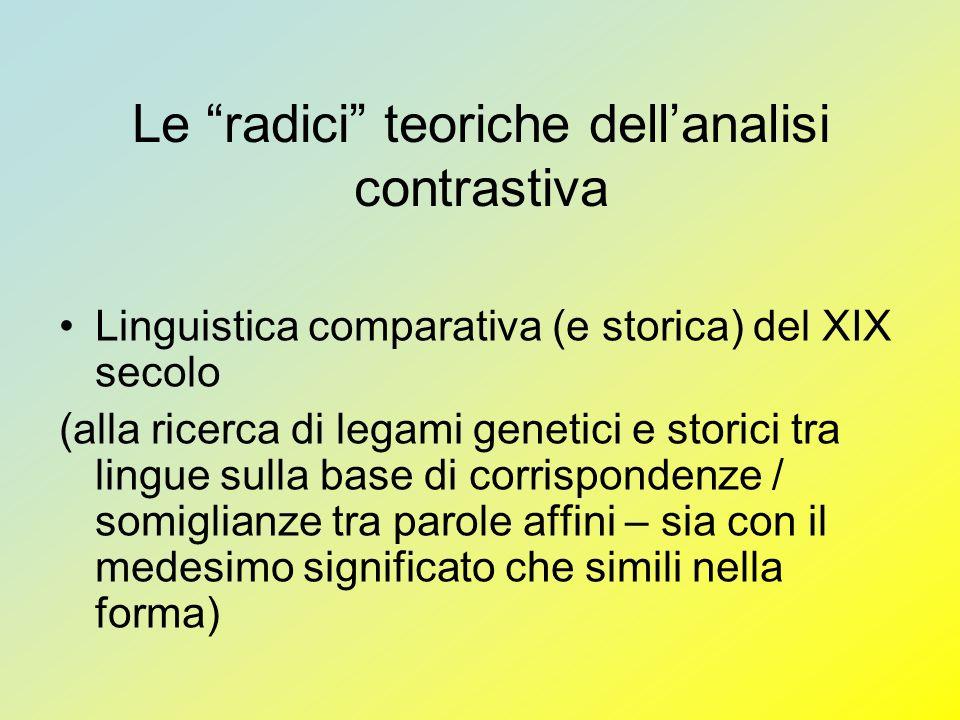 Le radici teoriche dellanalisi contrastiva Linguistica comparativa (e storica) del XIX secolo (alla ricerca di legami genetici e storici tra lingue su