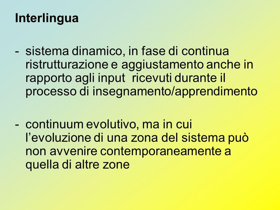 Interlingua -sistema dinamico, in fase di continua ristrutturazione e aggiustamento anche in rapporto agli input ricevuti durante il processo di inseg