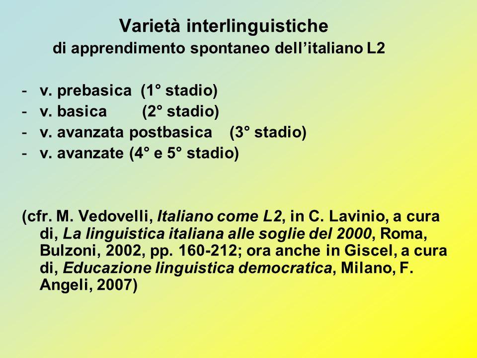 Varietà interlinguistiche di apprendimento spontaneo dellitaliano L2 -v. prebasica (1° stadio) -v. basica (2° stadio) -v. avanzata postbasica (3° stad