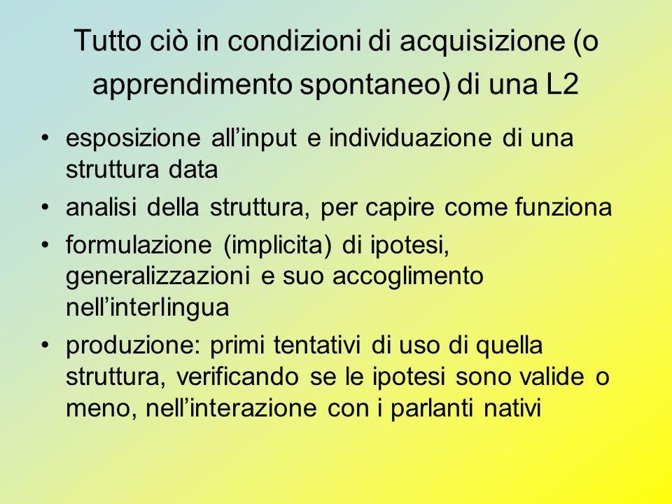 Tutto ciò in condizioni di acquisizione (o apprendimento spontaneo) di una L2 esposizione allinput e individuazione di una struttura data analisi dell
