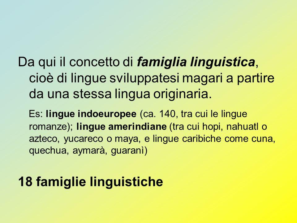 Da qui il concetto di famiglia linguistica, cioè di lingue sviluppatesi magari a partire da una stessa lingua originaria. Es: lingue indoeuropee (ca.