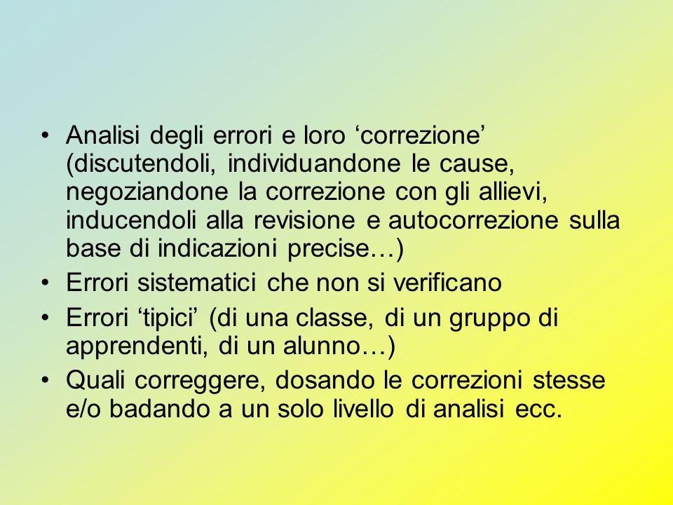 Analisi degli errori e loro correzione (discutendoli, individuandone le cause, negoziandone la correzione con gli allievi, inducendoli alla revisione