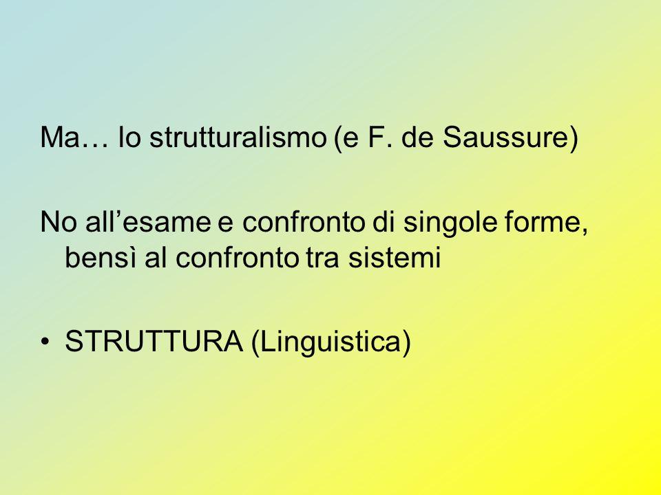 Ma… lo strutturalismo (e F. de Saussure) No allesame e confronto di singole forme, bensì al confronto tra sistemi STRUTTURA (Linguistica)
