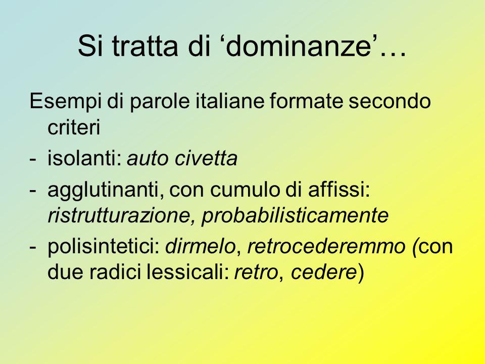 Si tratta di dominanze… Esempi di parole italiane formate secondo criteri -isolanti: auto civetta -agglutinanti, con cumulo di affissi: ristrutturazio