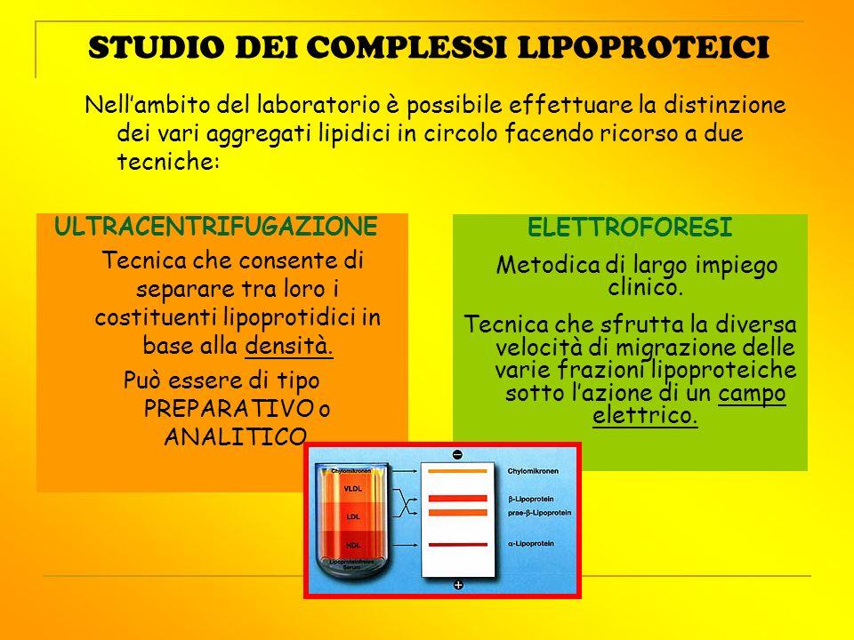 STUDIO DEI COMPLESSI LIPOPROTEICI ELETTROFORESI Metodica di largo impiego clinico. Tecnica che sfrutta la diversa velocità di migrazione delle varie f