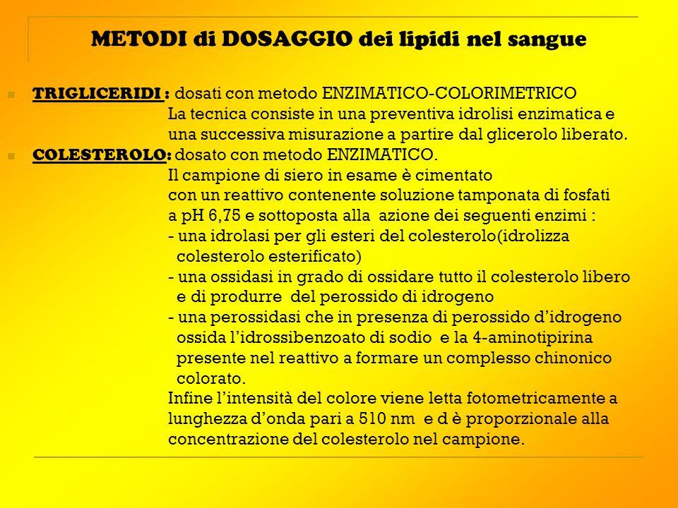 METODI di DOSAGGIO dei lipidi nel sangue TRIGLICERIDI : dosati con metodo ENZIMATICO-COLORIMETRICO La tecnica consiste in una preventiva idrolisi enzi