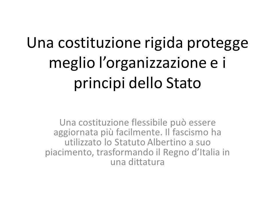 Una costituzione rigida protegge meglio lorganizzazione e i principi dello Stato Una costituzione flessibile può essere aggiornata più facilmente. Il