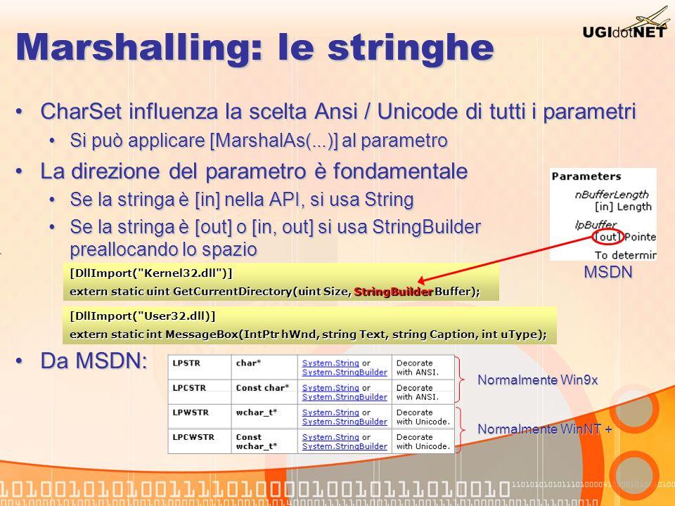 Marshalling: le stringhe CharSet influenza la scelta Ansi / Unicode di tutti i parametriCharSet influenza la scelta Ansi / Unicode di tutti i parametr