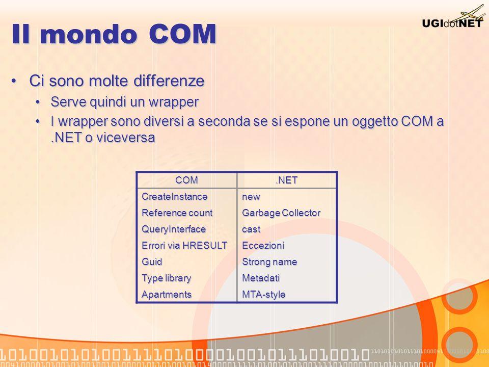 Il mondo COM Ci sono molte differenzeCi sono molte differenze Serve quindi un wrapperServe quindi un wrapper I wrapper sono diversi a seconda se si es