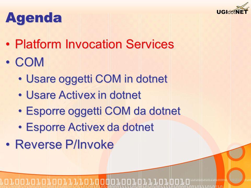 Platform Invoke Servizio del framework che permette di chiamare le API esportate in una DLL C-style Servizio del framework che permette di chiamare le API esportate in una DLL C-style Gli attrezzi del mestiere sono dentro System.Runtime.InteropServicesGli attrezzi del mestiere sono dentro System.Runtime.InteropServices Il protagonista è l attributo DllImportAttribute che svolge (tra le altre cose) le classiche operazioni di:Il protagonista è l attributo DllImportAttribute che svolge (tra le altre cose) le classiche operazioni di: LoadLibrary (carica la dll in memoria) – Free (scarica la dll)LoadLibrary (carica la dll in memoria) – Free (scarica la dll) GetProcAddress (ottiene un puntatore alla funzione richiesta)GetProcAddress (ottiene un puntatore alla funzione richiesta) Marshalling (mapping e passaggio parametri)Marshalling (mapping e passaggio parametri) Molto aiuto viene dal wiki www.pinvoke.net con molte dichiarazioni già pronte per la API di WindowsMolto aiuto viene dal wiki www.pinvoke.net con molte dichiarazioni già pronte per la API di Windowswww.pinvoke.net