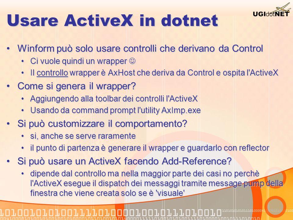 Usare ActiveX in dotnet Winform può solo usare controlli che derivano da ControlWinform può solo usare controlli che derivano da Control Ci vuole quin
