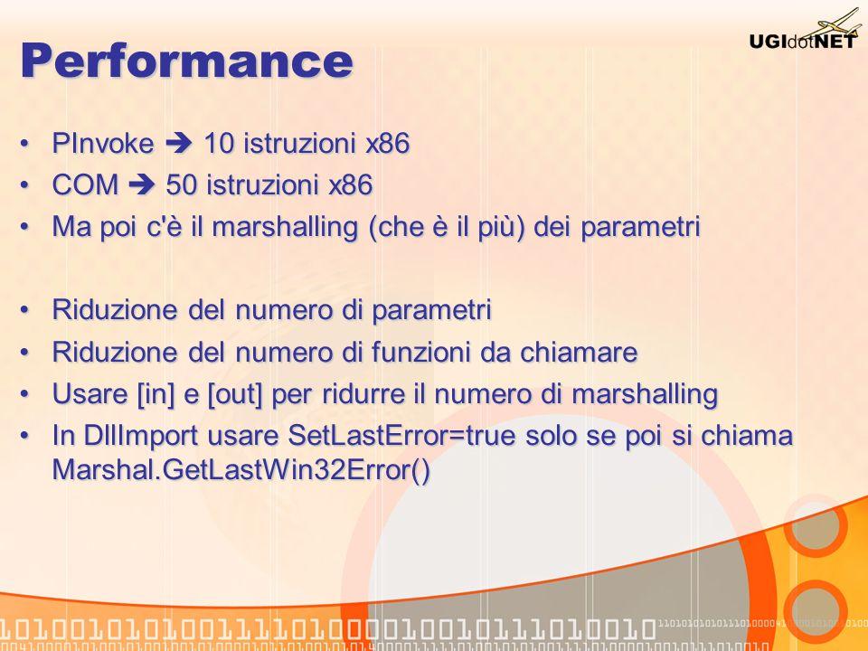 Performance PInvoke 10 istruzioni x86PInvoke 10 istruzioni x86 COM 50 istruzioni x86COM 50 istruzioni x86 Ma poi c'è il marshalling (che è il più) dei