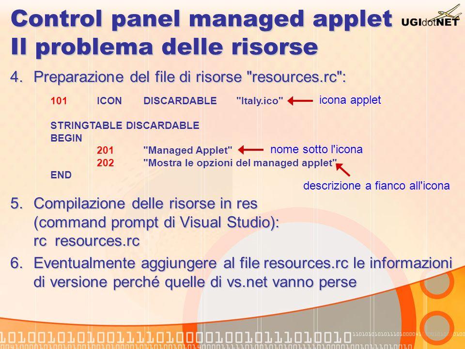 Control panel managed applet Il problema delle risorse 4.Preparazione del file di risorse