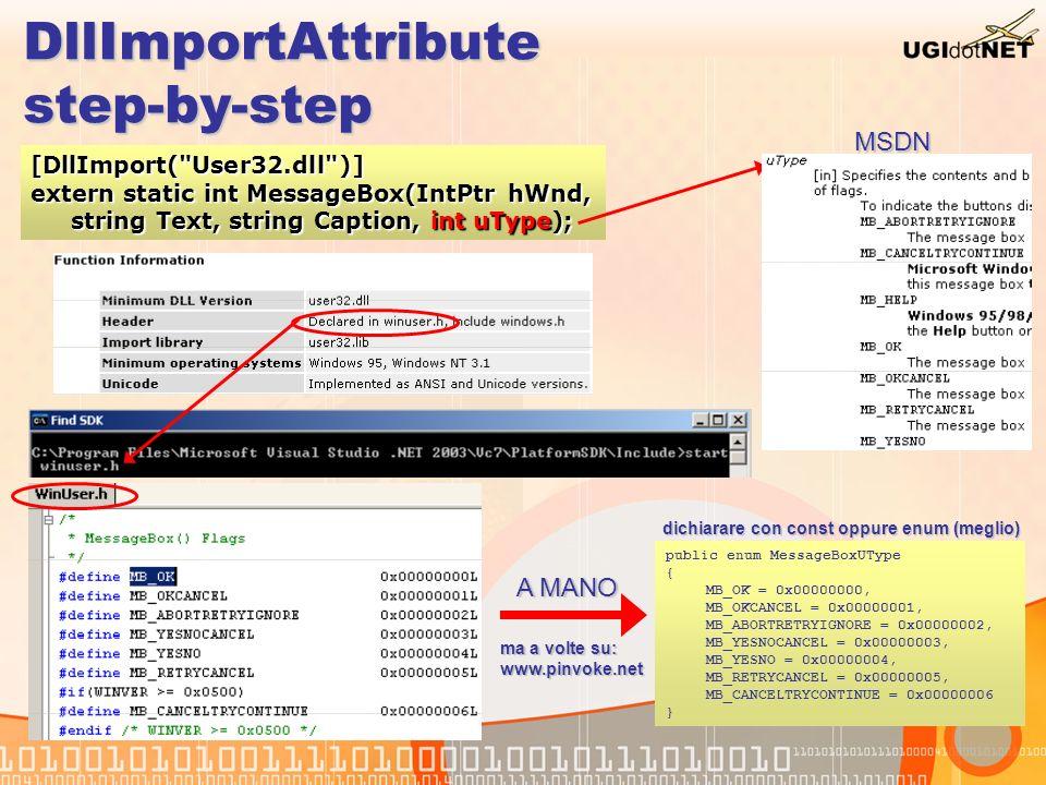 DllImportAttribute Nomi delle API Le API di Windows che usano stringhe esistono in due versioni: MessageBoxA (Ansi), MessageBoxW (Wide = Unicode)Le API di Windows che usano stringhe esistono in due versioni: MessageBoxA (Ansi), MessageBoxW (Wide = Unicode) ExactSpelling = false aggiunge automaticamente questo suffisso (A o W)ExactSpelling = false aggiunge automaticamente questo suffisso (A o W) Il default che è DllImport( MessageBox ) cerca in sequenza:Il default che è DllImport( MessageBox ) cerca in sequenza: MessageBox, MessageBoxA, MessageBoxW, _MessageBox@N (N=numero che rappresenta la dimensione dei parametri del metodo)MessageBox, MessageBoxA, MessageBoxW, _MessageBox@N (N=numero che rappresenta la dimensione dei parametri del metodo) È possibile cambiare il nome esatto tramite EntryPoint È possibile cambiare il nome esatto tramite EntryPoint A volte aiuta il dependancy walker (http://www.dependencywalker.com/)A volte aiuta il dependancy walker (http://www.dependencywalker.com/) [DllImport( User32.dll , EntryPoint= MessageBoxW , ExactSpelling=true, CharSet=CharSet.Auto)] extern static int MBox(IntPtr hWnd, string Text, string Caption, int uType);