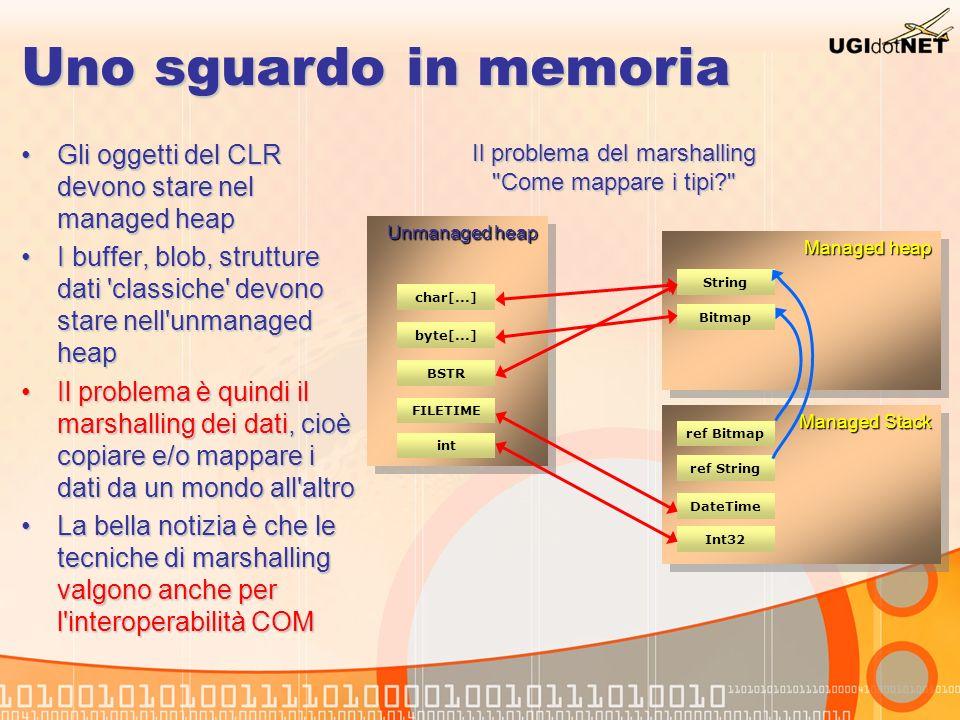 Marshalling: blittable types I blittable types sono i tipi che hanno una rappresentazione identica sia nel mondo managed che unmanaged:I blittable types sono i tipi che hanno una rappresentazione identica sia nel mondo managed che unmanaged: Byte, SByteByte, SByte Int16, UInt16Int16, UInt16 Int32, UInt32Int32, UInt32 Int64, UInt64Int64, UInt64 IntPtr, UIntPtrIntPtr, UIntPtr SingleSingle DoubleDouble Array monodimensionali (UInt32[], Byte[],...)Array monodimensionali (UInt32[], Byte[],...) Value types (strutture) contenenti i tipi appena citatiValue types (strutture) contenenti i tipi appena citati Array e classi contenenti blittable types vengono pinned in memoria invece di copiare il loro valore nel mondo unmanaged.Array e classi contenenti blittable types vengono pinned in memoria invece di copiare il loro valore nel mondo unmanaged.