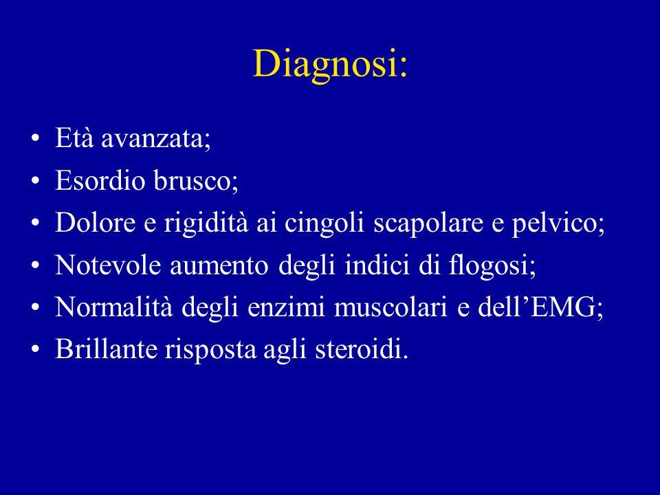 Diagnosi differenziale: Artrite reumatoide senile sieronegativa; Mialgie in corso di infezioni virali; Polimiosite; Fibromialgia; Periartrite bilaterale delle spalle; Artrosi; Sindromi depressive; Endocrinopatie: es.