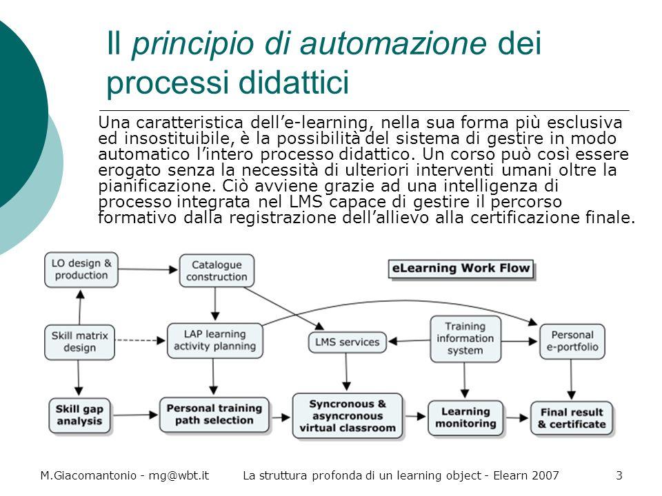 M.Giacomantonio - mg@wbt.itLa struttura profonda di un learning object - Elearn 20073 Il principio di automazione dei processi didattici Una caratteri