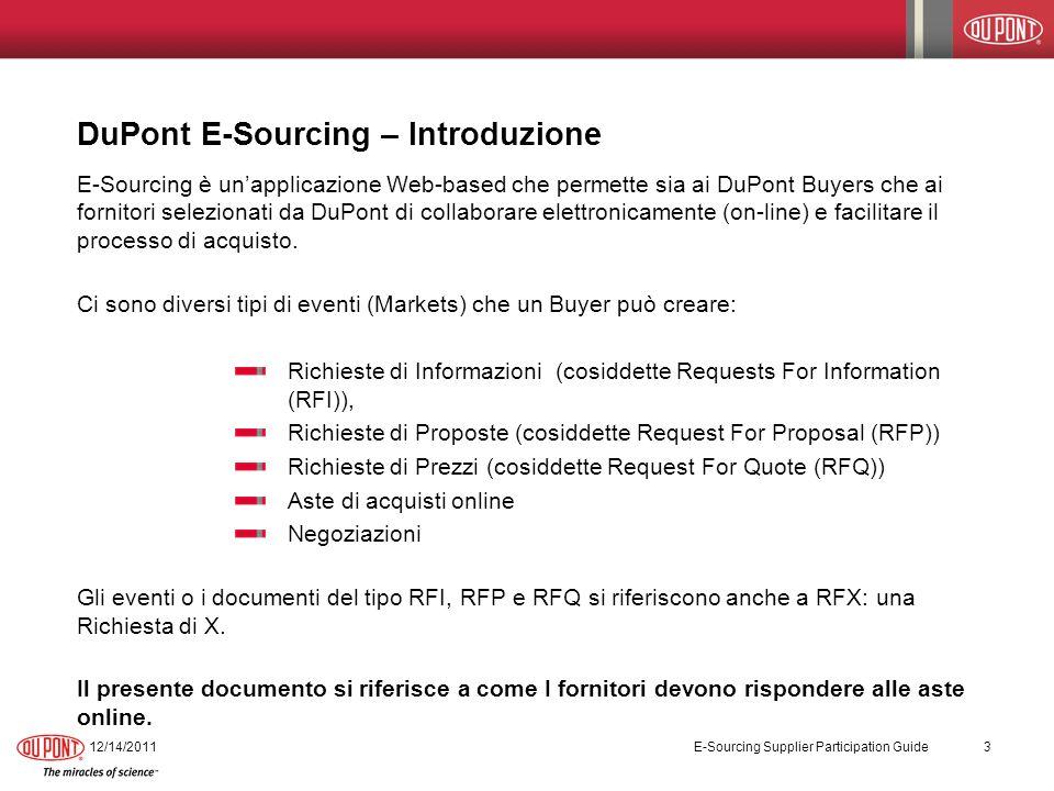 DuPont E-Sourcing – Fare offerte durante lasta 12/14/2011 E-Sourcing Supplier Participation Guide 24 PassoAzione 6.Una volta inserita con successo lofferta, pparirà una schermata di conferma.