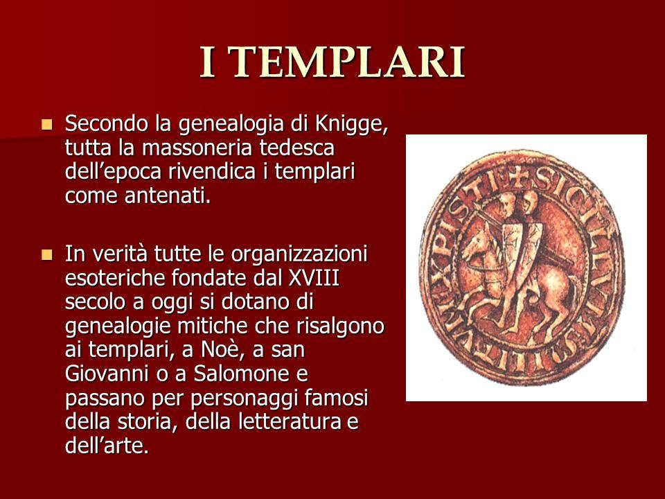 I TEMPLARI Secondo la genealogia di Knigge, tutta la massoneria tedesca dellepoca rivendica i templari come antenati. Secondo la genealogia di Knigge,