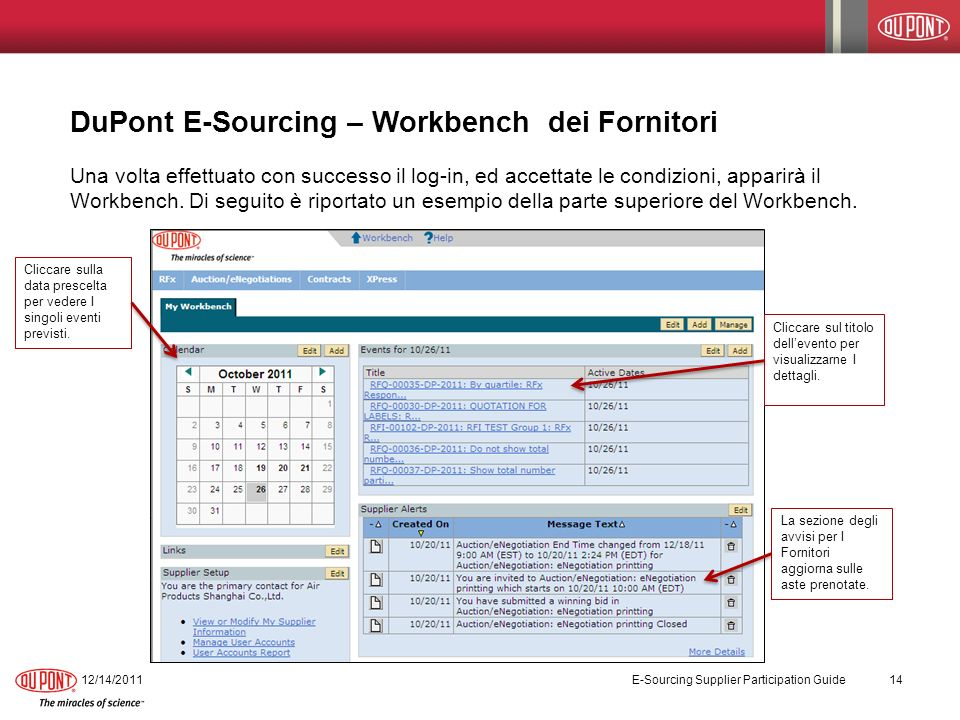 DuPont E-Sourcing – Workbench dei Fornitori 12/14/2011 E-Sourcing Supplier Participation Guide 14 Una volta effettuato con successo il log-in, ed accettate le condizioni, apparirà il Workbench.