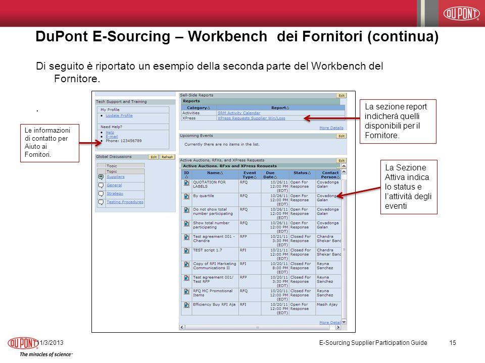 DuPont E-Sourcing – Workbench dei Fornitori (continua) 11/3/2013 E-Sourcing Supplier Participation Guide 15 Di seguito è riportato un esempio della seconda parte del Workbench del Fornitore..
