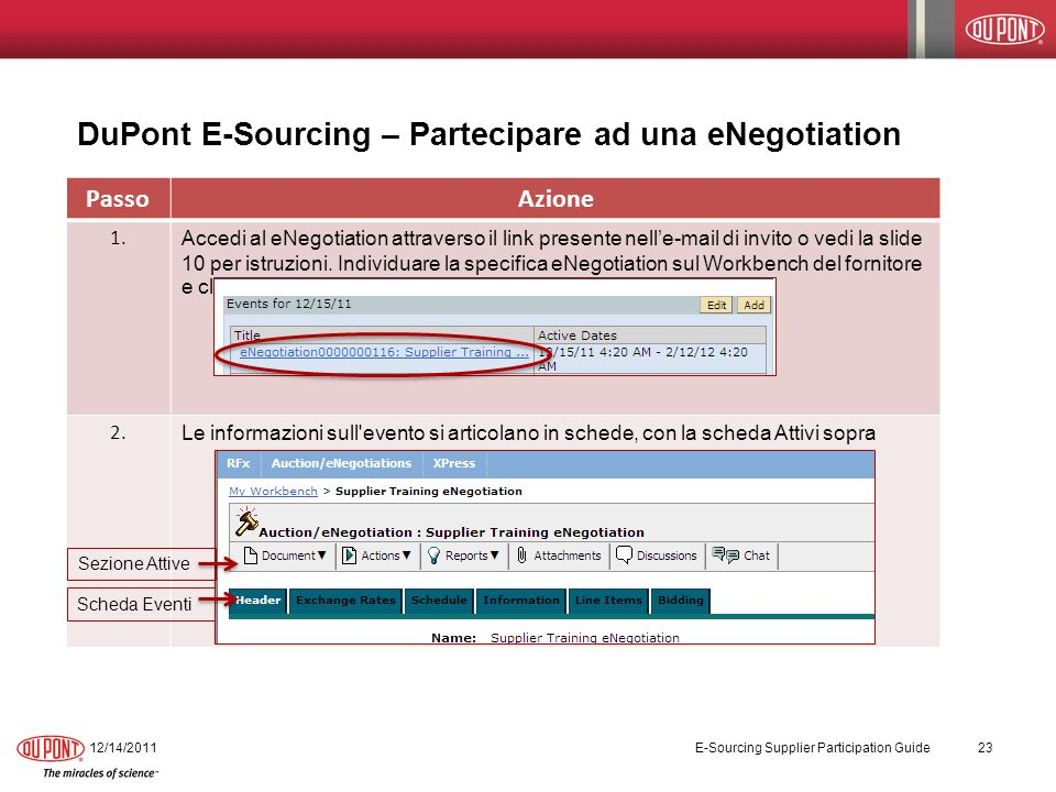 DuPont E-Sourcing – Partecipare ad una eNegotiation 12/14/2011 E-Sourcing Supplier Participation Guide 23 PassoAzione 1.