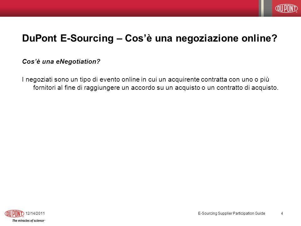 DuPont E-Sourcing – Cosè una negoziazione online? Cosè una eNegotiation? I negoziati sono un tipo di evento online in cui un acquirente contratta con
