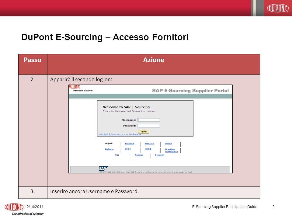 PassoAzione 2.Apparirà il secondo log-on: 3.Inserire ancora Username e Password. DuPont E-Sourcing – Accesso Fornitori 12/14/2011 E-Sourcing Supplier