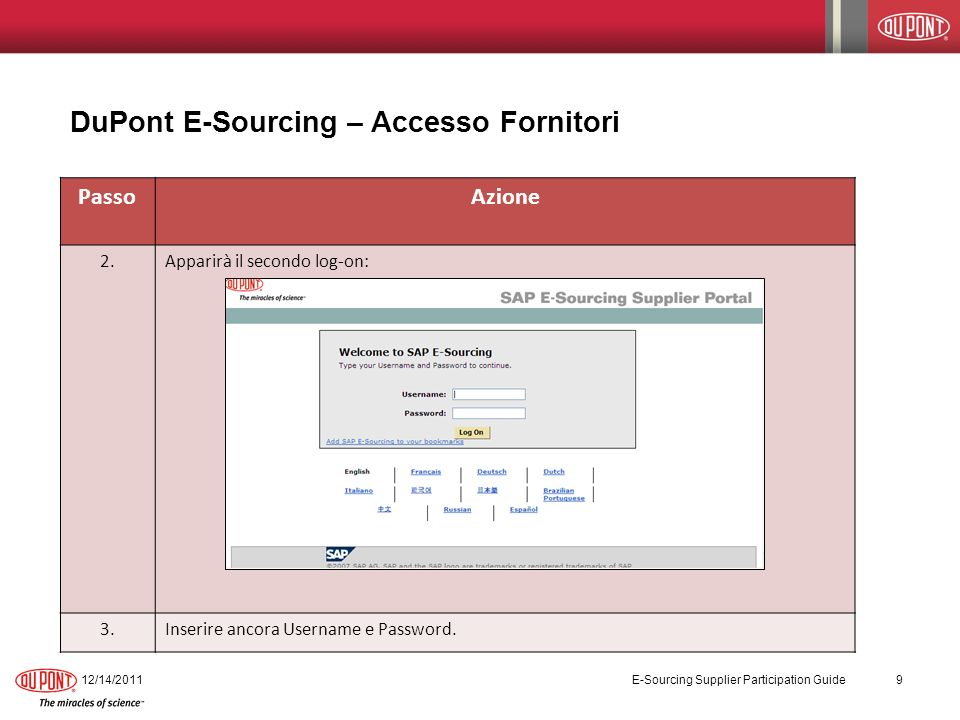 DuPont E-Sourcing – Partecipare ad una eNegotiation 12/14/2011 E-Sourcing Supplier Participation Guide 20 PassoAzione 1.