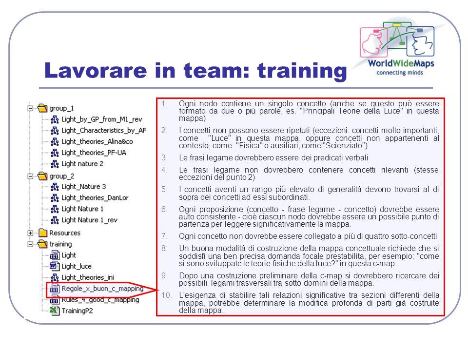 Lavorare in team: training 1.Ogni nodo contiene un singolo concetto (anche se questo può essere formato da due o più parole, es.