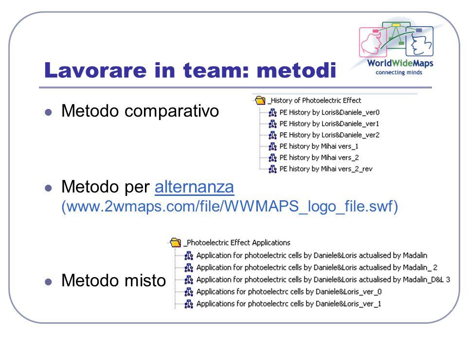 Lavorare in team: metodi Metodo comparativo Metodo per alternanza (www.2wmaps.com/file/WWMAPS_logo_file.swf)alternanza Metodo misto